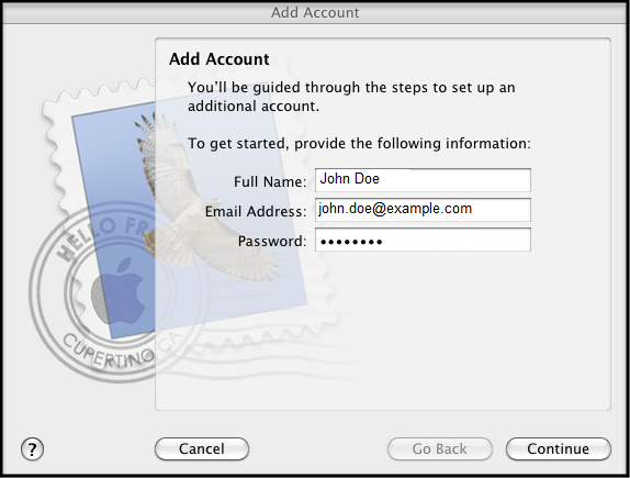 Mac mail add acount